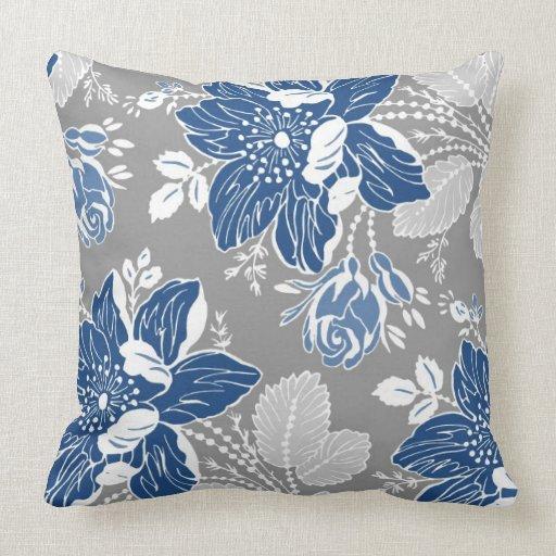 Greyish Blue Throw Pillows : Dark Blue Gray White Floral Decorative Pillow Zazzle