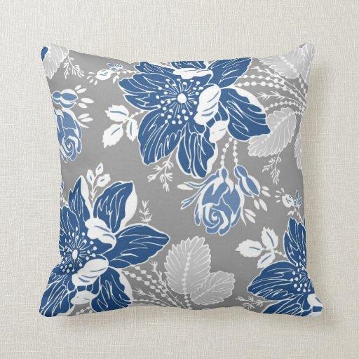Large White Decorative Pillows : Dark Blue Gray White Floral Decorative Pillow Zazzle