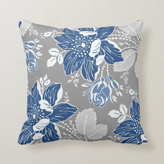 dark blue gray white floral decorative pillow. Black Bedroom Furniture Sets. Home Design Ideas