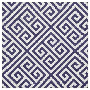 Dark Blue Greek Key Pattern Fabric