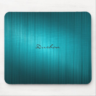 Dark Blue-Green Brushed Metal Look Mouse Pad