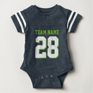 Dark Blue Green Football Jersey Sports Baby Romper