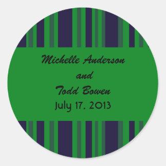Dark blue green striped Wedding Classic Round Sticker