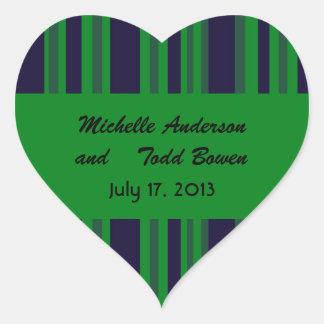 Dark blue green striped Wedding Heart Sticker