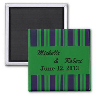Dark blue green striped Wedding 2 Inch Square Magnet