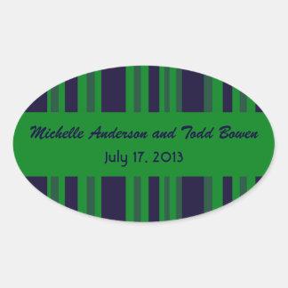 Dark blue green striped Wedding Oval Sticker