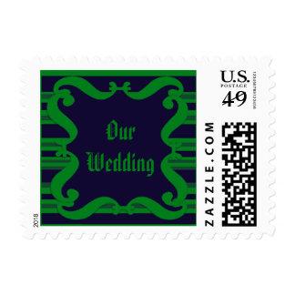 Dark blue green striped Wedding Postage