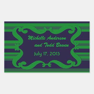 Dark blue green striped Wedding Rectangular Sticker