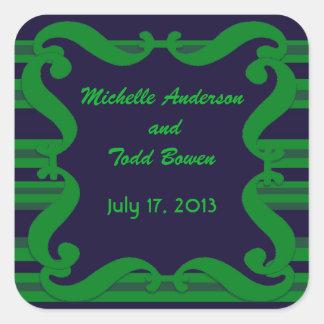 Dark blue green striped Wedding Square Sticker