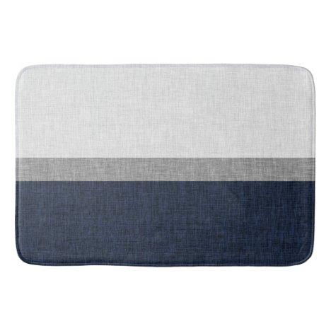 Dark Blue Grey White Simple Stripe Crosshatch Bath Mat