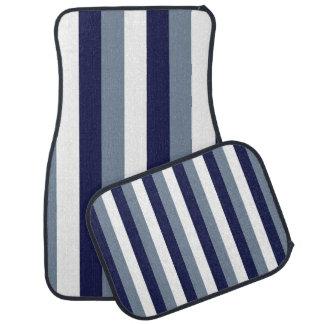 Dark Blue Grey White Stripes Car Mats Car Mat
