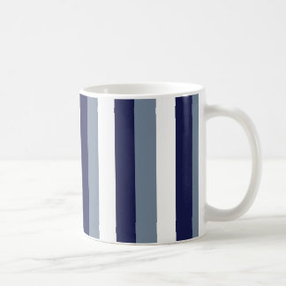 Dark Blue, Grey White Stripes Mug