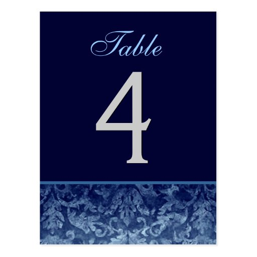 Dark Blue Grunge Damask Wedding Table Number Card Post Card