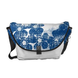 Dark Blue Grunge Flowers. Retro Floral Pattern Courier Bag