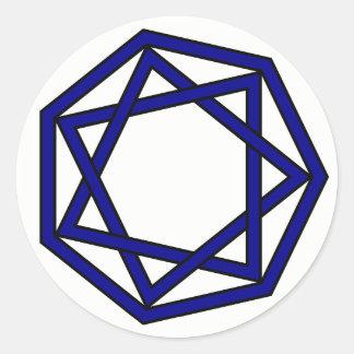 Dark Blue Heptagram in Heptagon Classic Round Sticker