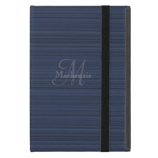 Dark Blue Horizontal Stripes Custom Monogram Name Case For iPad Mini