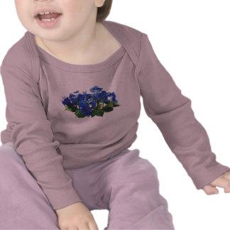 Dark Blue Hydrangea Lace Cap Kids Tshirt