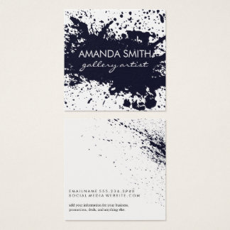 Dark Blue Ink Splatter Square Business Card