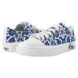 Dark Blue Iznik Tiles Flower Azulejo Mosaic Floral Low-Top Sneakers