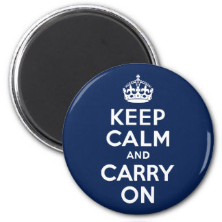 Dark Blue Keep Calm and Carry On 2 Inch Round Magnet