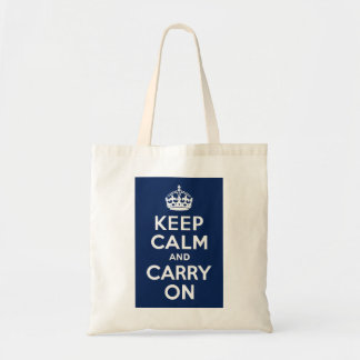 Dark Blue Keep Calm and Carry On Budget Tote Bag