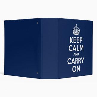 Dark Blue Keep Calm and Carry On Vinyl Binder