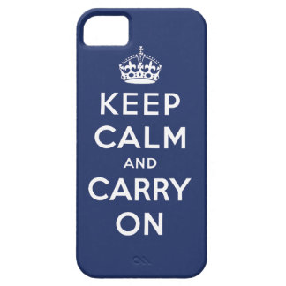Dark Blue Keep Calm and Carry On iPhone 5 Case