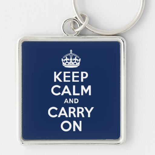 Dark Blue Keep Calm and Carry On Keychain
