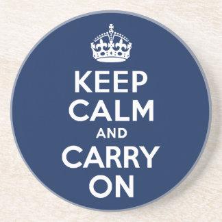 Dark Blue Keep Calm and Carry On Sandstone Coaster