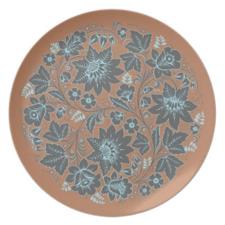 Dark Blue Khokhloma on Brown Dinner Plate