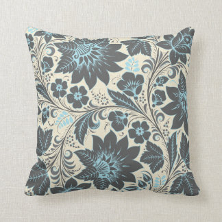 Dark Blue Khokhloma Pillow