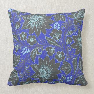 Dark Blue Khokhloma Throw Pillow