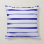 [ Thumbnail: Dark Blue & Lavender Striped Pattern Throw Pillow ]