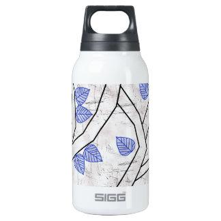 dark blue leaves insulated water bottle