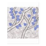 dark blue leaves postcard
