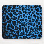 Dark Blue Leopard Print Mouse Pad