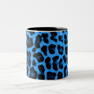 Dark Blue Leopard Print Two-Tone Coffee Mug