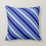 [ Thumbnail: Dark Blue & Light Blue Lines Pattern Throw Pillow ]