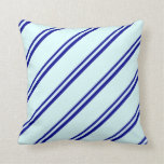 [ Thumbnail: Dark Blue & Light Cyan Colored Striped Pattern Throw Pillow ]
