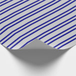 [ Thumbnail: Dark Blue & Light Gray Striped Pattern Wrapping Paper ]