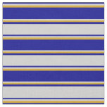 [ Thumbnail: Dark Blue, Light Grey & Goldenrod Colored Stripes Fabric ]