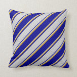 [ Thumbnail: Dark Blue, Light Grey & Goldenrod Colored Stripes Throw Pillow ]