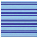 [ Thumbnail: Dark Blue & Light Sky Blue Lines Fabric ]