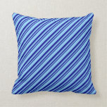 [ Thumbnail: Dark Blue & Light Sky Blue Lines Throw Pillow ]