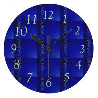 Dark Blue Lights Large Clock