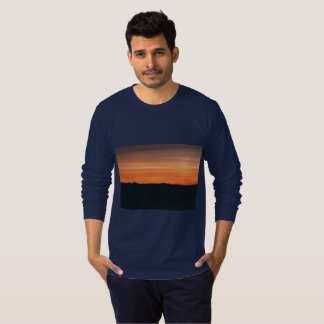 Dark Blue Long-Sleeved Tee with Sunset Design