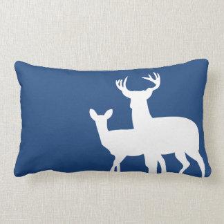Dark Blue Male Female Deer Throw Pillows