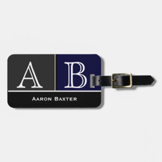 Dark Blue Masculine Monogrammed Custom Luggage Tag