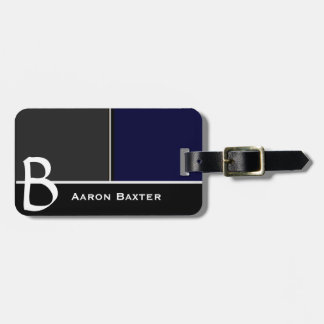 Dark Blue  MasculineMonogrammed Custom Luggage Tag