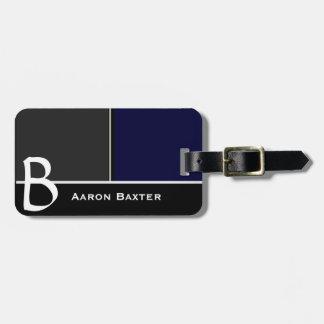Dark Blue  MasculineMonogrammed Custom Luggage Tag